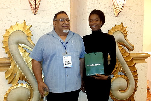 Professor Dave Chadee and postgraduate student Akilah Stewart at the closing ceremony of the 23rd Annual Caribbean Water and Waste Water Conference (CWWA), Bahamas, October, 2014