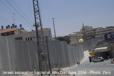 This picture shows a portion of the barrier being built by Israel in the West Bank. This part is in Abu Dis, close to the eastern part of Jerusalem.