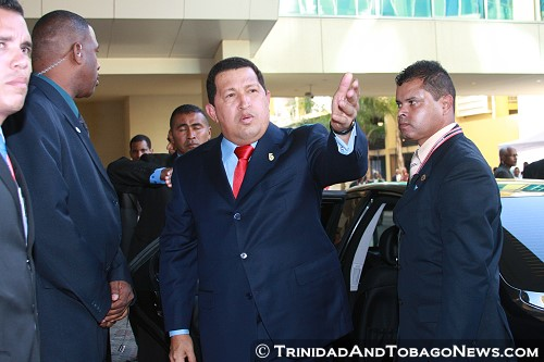 Hugo Chavez at The Fifth Summit of the Americas 2009 held in Trinidad and Tobago