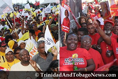People's Partnership supporters vs PNM supporters