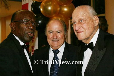 LEFT: Former FIFA vice-president Jack Warner, FIFA president Sepp Blatter and former FIFA president João Havelange at the Trinidad and Tobago Football Federation's Centennial Dinner held at the Dr. Joao Havelange Centre of Excellence, Macaya on September 05, 2008