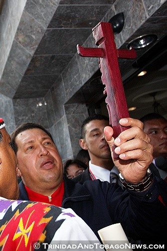 Hugo Chávez at The Fifth Summit of the Americas 2009 held in Trinidad and Tobago