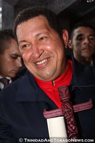 Hugo Chávez (1954 – 2013) during The Fifth Summit of the Americas 2009 held in T&T