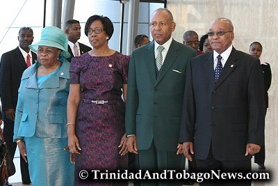 South Africa President Jacob Zuma (right), his senior wife, Sizakele Khumalo (left), Hazel and Patrick Manning (centre)