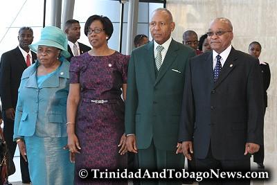 South Africa President Jacob Zuma (right), his senior wife, Sizakele Khumalo (left), Hazel and Patrick Manning (centre)