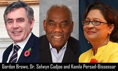 Gordon Brown, Dr. Selwyn R. Cudjoe and Kamla Persad-Bissessar