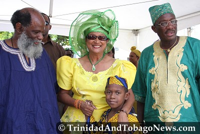 Head of the Emancipation Support Committee Kafra Kambon, Prime Minister Kamla Persad-Bissessar, Minister of Arts and Multiculturalism Winston Peters