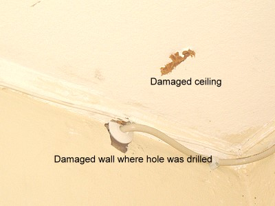 Flow damaged the wall and ceiling