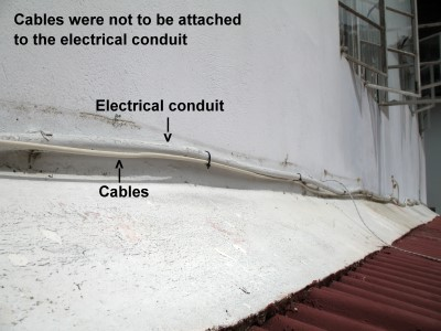 Cables affixed to the electrical conduit