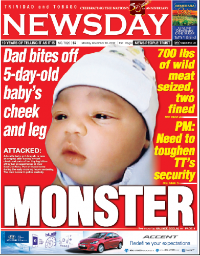 BABY'S FLESH BITTEN OFF on the front page of Newsday