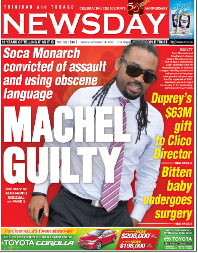 MACHEL GUILTY on the front page of Newsday