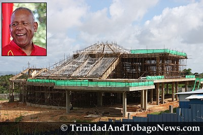 Lighthouse of the Lord Jesus Christ Church under construction at the Heights of Guanapo - Inset: Ex-PM Patrick Manning