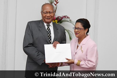 President George Maxwell Richards Appoints Kamla Persad-Bissessar the Leader of the Opposition