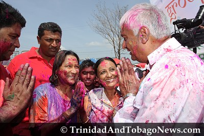 Newly appointed Opposition Leader Kamla Persad-Bissessar and Winston Dookeran, political leader of the Congress of the People (COP) at Maha Sabha Children's Phagwa 2010