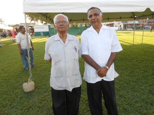 The late Reverend Sieunarine with Presiding Elder Kenrick Seepersad at the Every Soul Counts Crusade held in Curepe in 2015