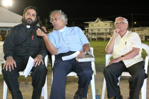 Son Rev Damien Sieunarine, Bother in Law Rev Dr Daniel Teelucksingh and Deceased Rev Sieunarine at Every Soul Counts Crusade in Curepe in 2015