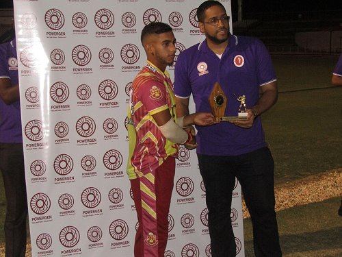 Kirstan Kallicharan (HVC) Receiving his Two Trophies