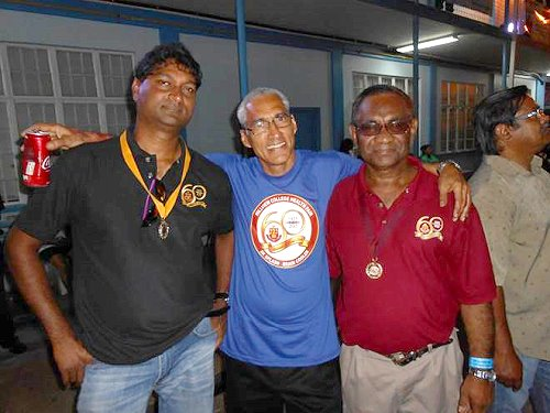 Hillview Old Boys' Association (HOBA) President Peter Machikan (left) is pictured with Event Orgniser, Victorio Hawkins (Center) and Stephen Kangal celebrating a successful event