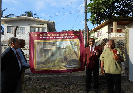Original Building of Hillview College at Sheriff Street, Tunapuna with Conrad Amoroso, Kenneth Mahase, Stephen Kangal and Martin Albino of the 1955 Class of Pioneers
