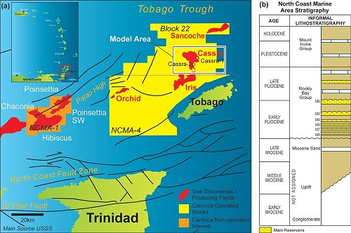 Energy Map showing oil/gas installations operating around Tobago above and  West Tobago below
