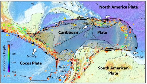 Tectonic Plates Converging in the Caribbean Area resulting in the Island Chain (Courtesy of the Petroleum Magazine)