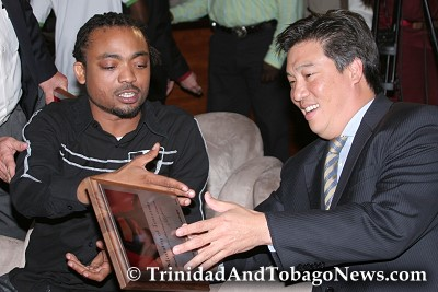 Machel Montano and Mr. Howard Chin Lee at Club Zen