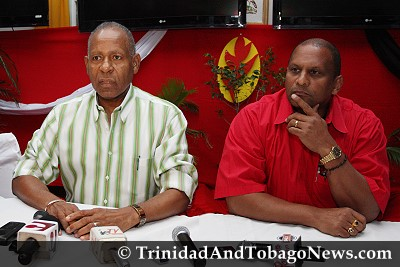 Former Prime Minister Patrick Manning and PNM Party Chairman Conrad Enill