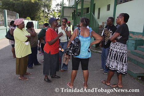 Some of the La Seiva Village residents in the school yard voicing their disappointment