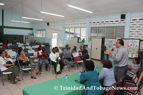 Chairman of the Diego Martin Regional Corporation, Mr. Anthony Sammy addresses the small audience