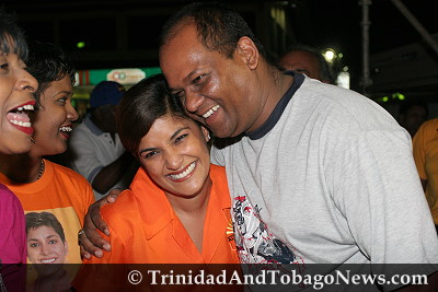 Oropouche West MP Mickela Panday, centre, with a supporter at the UNC rally in Maraabella, last night