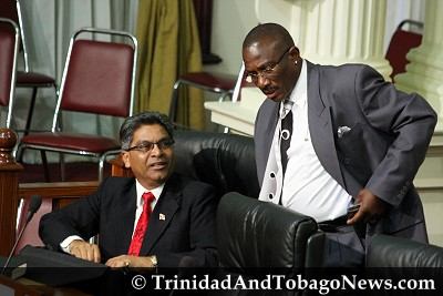Opposition members Harry Partap and Winston 'Gypsy' Peters