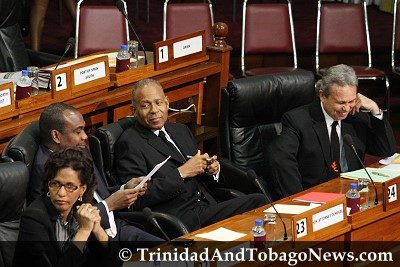 LEFT: Finance Minister Karen Nunez-Tesheira, Attorney General John Jeremie, Prime Minister Patrick Manning and Works Minister Colm Imbert in parliament on March 12, 2010