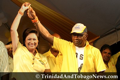 PM Kamla Persad-Bissessar and Jack Warner