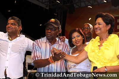 Attorney General Anand Ramlogan, Minister of Works & Transport Jack Warner, Minister of Energy and Energy Affairs Carolyn Seepersad-Bachan, Minister of Public Utilities Emmanuel George and Prime Minister Kamla Persad-Bissessar at the People's Partnership's Victory Celebration - June, 18, 2010