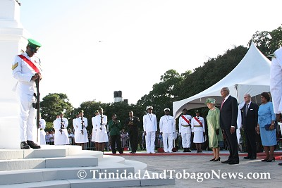 Queen honours war heroes at Memorial Park, Port-of-Spain