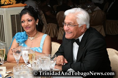 Oma and Basdeo Panday at the State Dinner at Presidents House for Her Majesty, Queen Elizabeth II