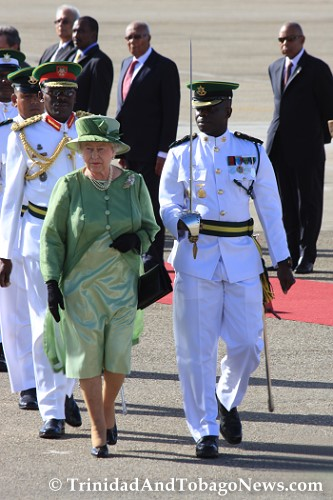 Queen Elizabeth II at Piarco International Airport