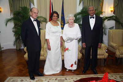 Her Majesty Queen Elizabeth II, Prince Phillip, Duke of Edinburgh with His Excellency President George Maxwell Richards and by Her Excellency Dr. Jean Ramjohn Richards. Photo credit: GISL