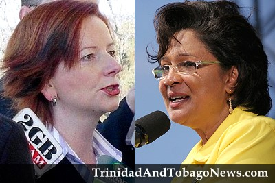 Prime Minister of Australia Ms. Julia Gillard and Prime Minister of Trinidad and Tobago Mrs. Kamla Persad-Bissessar