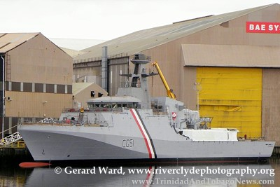Scarborough CG 51 vessel at BAE Systems' shipyard on the Clyde River in Glasgow, Scotland