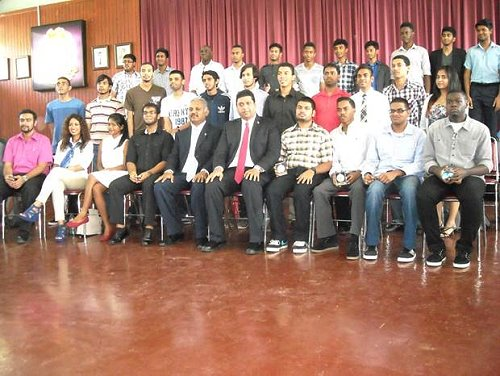 The National Scholars with Ministers Kevin Ramnarine and Rudrnath Indarsingh-former Graduates of Hillview