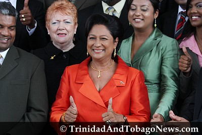 Prime Minister Kamla Persad-Bissessar with Ministers