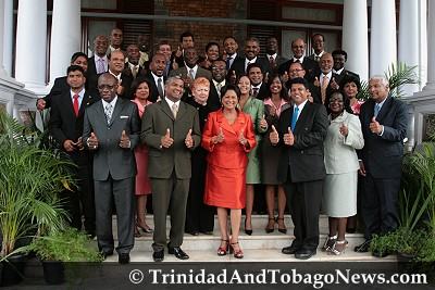 Prime Minister Kamla Persad-Bissessar with Govt Ministers