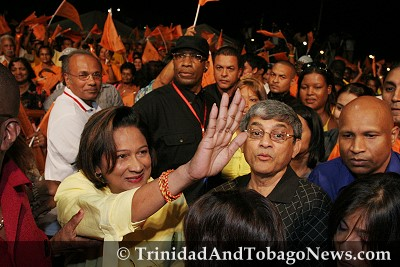 Kamla Persad-Bissessar at UNC Rally in Marabella, last night