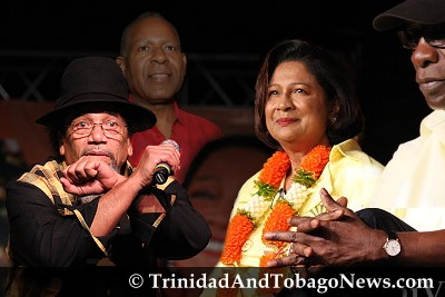 Crazy the calypsonian, 'Manning must go, must go...' and UNC leader Kamla Persad-Bissessar