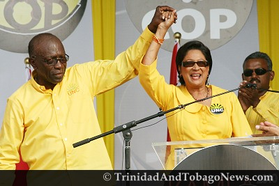 Jack Warner and Kamla Persad-Bissessar at the People's Partnership New Day, New Way Forward Rally - May 22, 2010