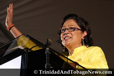 United National Congress (UNC) leader Kamla Persad-Bissessar addressing the crowd at Charlie King Junction, Fyzabad