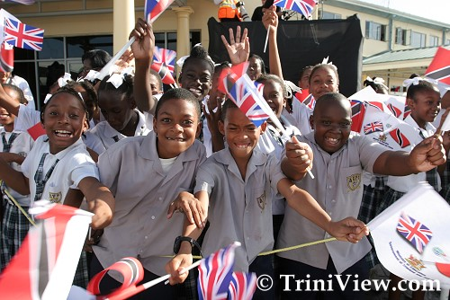 School children at Piarco International Airport for the Queen's arrival