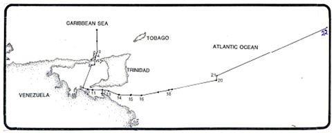 Map showing TT and Venezuela boundary